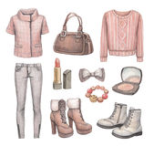 Fashion collection. Watercolor illustrations Stock Image