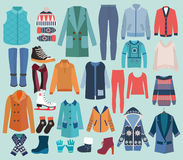 Fashion collection of winter woman wardrobe. vector illustration