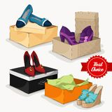 Fashion collection of woman's shoes Royalty Free Stock Photos