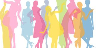 Fashion colorful background. Transparent colored silhouettes of girls. Fashion flat background Stock Illustration