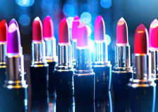 Fashion colorful lipsticks. Professional makeup Stock Photos