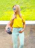 Fashion colorful portrait of pretty young woman Royalty Free Stock Photos