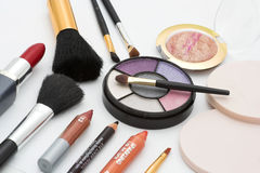 Fashion colors. Makeup brushes and colorful cosmetics Royalty Free Stock Images