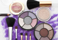 Fashion colors. Makeup brush and cosmetics tools Royalty Free Stock Images
