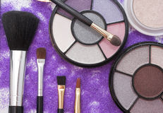 Fashion colors. Makeup brush and cosmetics tools Stock Image