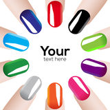 Fashion colours nails. Vector illustration with colored Fashion nails in circle Royalty Free Stock Photos