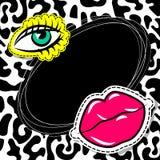 Fashion 90 comic text oval eye lips Royalty Free Stock Photos
