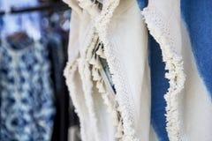 Closeup blue and white cotton fabric dress Stock Photos