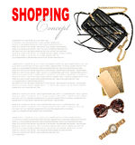 Fashion concept with business lady accessories. Feminine shoppin Royalty Free Stock Photo