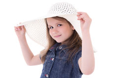 Fashion concept - cute little girl in big summer hat isolated on Royalty Free Stock Images