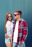Fashion concept - portrait of stylish confident young couple Royalty Free Stock Photography
