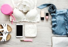 Top view of female fashion accessories for woman stock photography