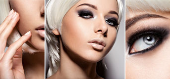 Fashion concept of style makeup. Closeup woman's face with creat Royalty Free Stock Photography