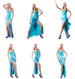 The fashion concept with tall model on white Stock Photography