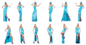 The fashion concept with tall model on white Royalty Free Stock Photography