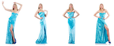 The fashion concept with tall model on white Royalty Free Stock Images
