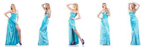 The fashion concept with tall model on white Stock Images