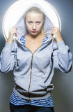 Fashion Concepts. Portrait of Blond Caucasian Female in Hoody Ja Stock Photography