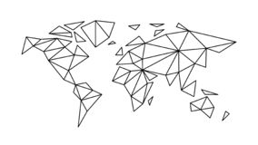 Fashion contour map of the world in the style of triangulation royalty free illustration