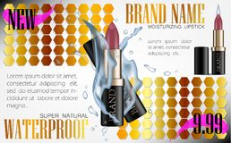 Fashion cosmetic lipstick tube vector 3d illustration mockup water splash. Design Ads Cosmetics Luxury Product Flyer Template for. Magazine Background. Gold vector illustration