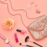 Fashion Cosmetic Makeup Accessories. Essentials. Fashion Makeup Cosmetic Set. Woman Beauty Accessories Set. Makeup Essentials. Fashion Design. Lipstick Brushes Stock Image