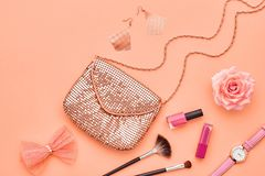 Fashion Cosmetic Makeup Accessories. Essentials. Fashion Makeup Cosmetic Set. Woman Beauty Accessories Set. Makeup Essentials. Fashion Design. Lipstick Brushes Stock Photos