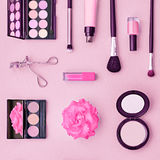 Fashion Cosmetic Makeup Accessories. Essentials. Fashion Cosmetic Makeup Set. Woman Beauty Accessories Set. Essentials. Makeup background. Fashion Design Stock Image