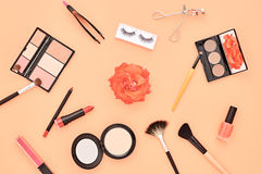 Fashion Cosmetic Makeup Accessories. Essentials Royalty Free Stock Photos