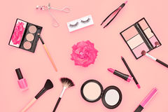 Fashion Cosmetic Makeup Accessories. Essentials Stock Photos