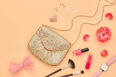 Fashion Cosmetic Makeup Accessories. Essentials Stock Photo