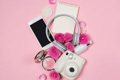 Fashion Cosmetic Makeup with Rose. Flat lay, top view on pink  background Stock Photo