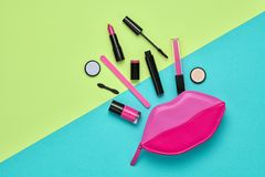 Free Fashion Cosmetic Makeup Set. Beauty Essentials. Stock Photo - 117396730