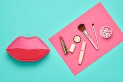 Fashion Cosmetic Makeup Set. Beauty Essentials. Fashion Cosmetic Makeup Minimal Set. Essentials. Trendy Design Pink Clutch Bag. Woman Beauty Accessories stock images