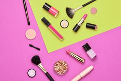 Fashion Cosmetic Makeup Set. Beauty Essentials. Fashion Cosmetic Makeup Set. Woman Beauty Accessories. Essentials. Trendy Design. Lipstick Brushes Eyeshadow royalty free stock photos