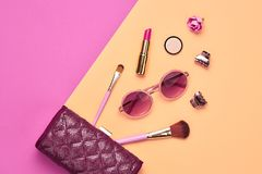 Fashion Cosmetic Makeup Set. Beauty Essentials. Fashion Cosmetic Makeup Set. Woman Beauty Accessories. Glamour Essentials. Trendy Design. Lipstick Brushes stock photo
