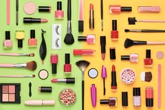 Free Fashion Cosmetic Makeup Set. Beauty Products Royalty Free Stock Photos - 115653958