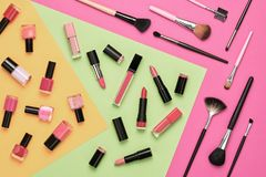 Free Fashion Cosmetic Makeup Set. Beauty Products Stock Photography - 115653962