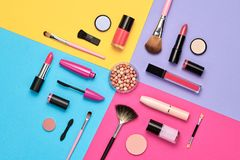 Free Fashion Cosmetic Makeup Set. Beauty Products Stock Image - 117396621