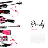 Fashion Cosmetics background with make up objects: lipstick, powder, brush. With place for your text. Glamour women. Style Stock Image