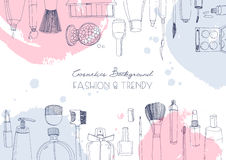 Fashion cosmetics horizontal background with make up artist objects and watercolor spots. Vector hand drawn illustration. With place for text Stock Image
