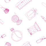 Fashion cosmetics seamless pattern with make up artist objects. Colorful vector hand drawn illustration. Royalty Free Stock Image