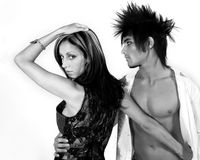 Fashion Couple. Man and Woman in black and white Royalty Free Stock Photo