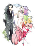 Fashion couple. Man, woman (couple) money - watercolors Royalty Free Stock Photos