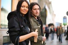 Fashion couple city stock photography