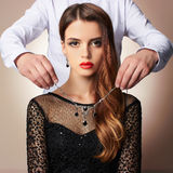 Fashion couple in jewelry Stock Photo