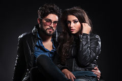 Fashion couple in leather jackets posing Royalty Free Stock Images