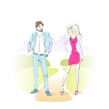 Fashion couple man with woman park outdoor vector Stock Photo