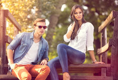 Fashion couple in nature stock image