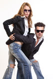 Fashion couple posing Royalty Free Stock Image