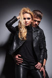 Fashion couple posing for the camera Royalty Free Stock Image